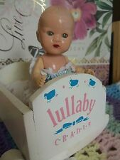 """4.5"""" Storybook Baby Doll by Hollywood Manufacturing Co Plus Wooden Cradle"""