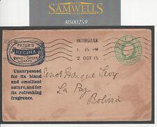 MS259 1915 GB Publicidad Postal Stationery Precio jabón de fragancia Cubierta Bolivia's