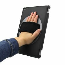 Black 360°Rotating Handheld Protector Case Cover with Hand Strap for iPad Air 2