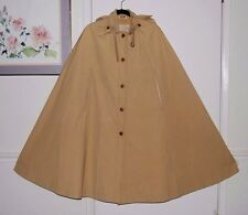 Vintage Tan Full Length Trench Coat Cape Cloak Button Down w/ Hood Size L XL