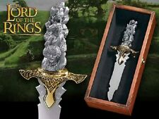 "LOTR LORD OF THE RINGS PEWTER GOLD BIG 12"" COLLECTORS KNIFE HOBBIT FRODO GOLLUM"
