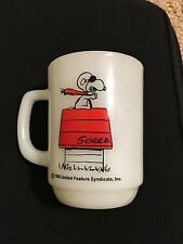 "Fire King SNOOPY RED ""CURSE YOU, RED BARON!"" MUG"