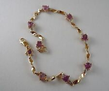 100% Genuine 9K Solid Yellow Gold and Natural Heart cut Amethyst Bracelet.