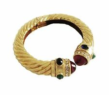 Vintage Ciner Cabochon Clamper Hinged Bracelet Gorgeous