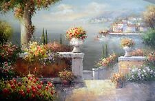 MEDITERRANEAN SEASCAPE FLOWER GARDEN OIL PAINTING LARGE 24X36 USA SELLER ID14-41