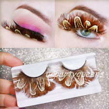 New Handmade Thick Brown Feather False Eyelashes Eye Lashes for Club Stage Party