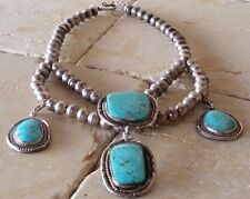 "Vintage Navajo Squash Blossom Sterling Turquoise Choker Necklace - 18"" - 87.4 gm"