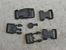 "2pcs Black Plastic Hand Cuff Key Buckles 5/8"" Curved Buckle Side Release"