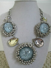 NWT Auth Betsey Johnson Stargazer Cloud Large Blue Medallion Statement Necklace