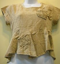 SACRED THREADS FUNKY FADED TAUPE SACKCLOTH ASYMMETRICAL TOP M CHECK MEASUREMENTS