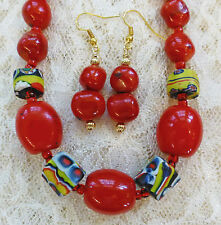"""RED CORAL BEAD, 4 UNUSUAL VINTAGE AFRICAN TRADE BEAD necklace, earrings 18"""""""
