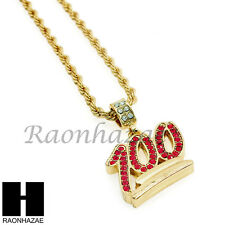 """MEN HIP HOP ICED OUT EMOJI 100 PENDANT w/ 4mm 24"""" ROPE NECKLACE CHAIN SN229"""