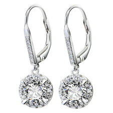Round White Sapphire &CZ Prong Real 925 Sterling Silver Hoop Dangle Hook Earring