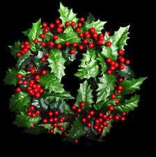 Artifical Christmas Holly Wreath with Berries . Realistic Looking Decoration