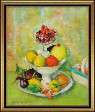 Andre Vignoles Original PAINTING Oil on Canvas Authentic Signed Still Life Art