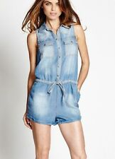 New Women's sz S GUESS Pointed Collar Amy Sleeveless Denim Romper