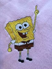 Handmade Personalized Fleece  30x30 inches, Embroidery Baby Blanket SpongeBob