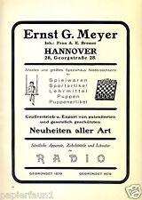 Spielwaren Meyer Hannover XL Reklame von 1924 Schach Puppen Bremer Werbung Ad