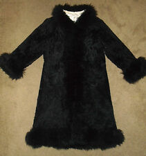 Vtg FAUX FUR Long OverCoat Jacket BLACK SHERPA Fleece Swing Coat Womens : S/M