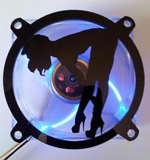 Custom 80mm SEXY GIRL BENTOVER Computer Fan Grill Gloss Black Acrylic Cooling