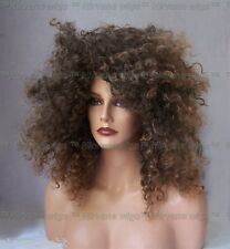 Warm Brown with Lighter Tips Afro Spiral Curls Fizz Diana Ross Style Wig/wigs