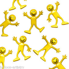12 Yellow Smiley Faces Childrens Party Favours Loot Bendy Bendable Men Toys