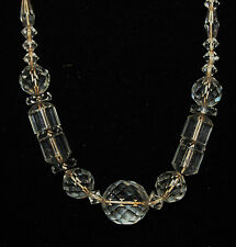 Art Deco faceted cut glass clear crystal bead vintage necklace geometric beads