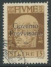 1921 FIUME USATO GOVERNO PROVVISORIO 5 LIRE - F5