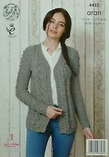 KNITTING PATTERN Ladies Sleeveless V-Neck Cable & Bobble Cardigan Aran KC 4432