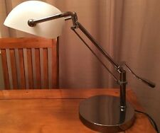 Cantilevered Bankers Piano Desk Lamp w/Frosted White Shade & Satin Nickel Finish