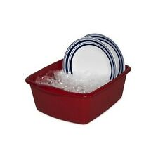 Red Dish Pan Basin Kitchen 12qt Plastic Twin Sink Sterlite Wash Tub Soak Laundry