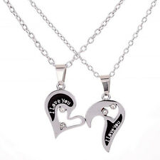 Mens Womens Couple I Love You Rhinestone Heart Pendant Chain Necklace Exotic