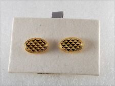 DESIGNER GOLD PLATED DIAMOND PLATE DESIGN  OVAL CUFF LINKS MEN'S JEWELRY NOC USA