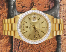 MINT Gents Solid 18ct Gold Rolex Oyster Perpetual Day Date, with Diamond Bezel.