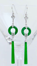 Art Deco Jade Earrings Silver and Paste