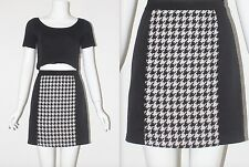 Vintage 1990's Black Cream HOUNDSTOOTH PATTERN HIGH WAISTED SHORT Skirt Size 8