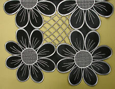 New Black Silver Embroidered Cutwork Kitchen Dining Table Runner175cm M428R