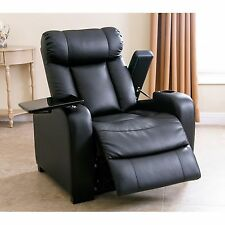 Luxurious Power Recliner Black Bonded Leather Chair Home Theater Furniture New