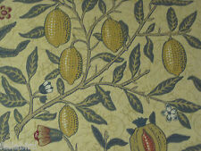 "WILLIAM MORRIS CURTAIN FABRIC DESIGN ""Fruit Major"" 1.2 METRES MUSTARD & BLUE"