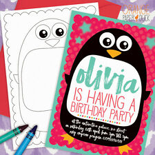 5 X Personalised PENGUIN PARTY INVITATIONS Invites Children Birthday Stationery