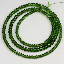2.7mm-5.5mm Gem Chrome Green Tourmaline Smooth Rondelle Beads 17.8 inch strand