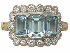 2.23 ct Aquamarine and 0.72 ct Diamond, 18 ct Yellow Gold Dress Ring - Vintage