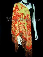 Piano Shawl Wrap Scarf Silk Burnout Velvet Orange Gold Maya Matazaro