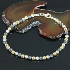 Tri Color Silver 14K Gold Filled Rhodium Plated Diamond Cut Bead Bracelet D053
