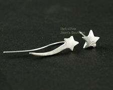 925 Sterling Silver Shooting Stars Climber Crawler Cuff Stud Earrings A1484