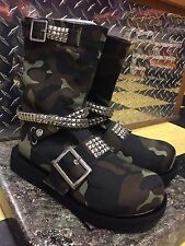 Demonia Green Camo Studded Canvas Punk Rocker-56 Platform Boot Women's Sz. 9