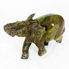 Handgeschnitzt Afrikanisch Elefant Stein Skulptur,Braun/Grün Stein,14cm Länge