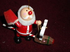 "Wood Santa Ridding Reindeer stick toy Christmas Ornament 4.5"" x 3""Pipe-cleaner"