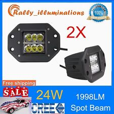 2X 24W SPOT Beam CREE LED Work Light Bar Fog ATV SUV Mount Offroad Driving lamp