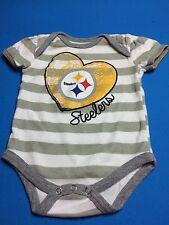 Pittsburgh Steelers Baby Girl Glitter One Piece Bodysuit Size 6-9 Months Nfl Euc